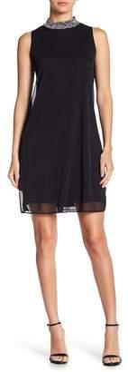 Marina Embellished High Crew Neck Sleeveless Dress