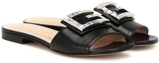 Gucci Crystal-embellished leather slides