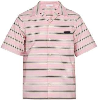 Prada Striped Short Sleeved Cotton Shirt - Mens - Pink Multi