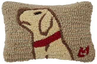 L.L. Bean L.L.Bean Wool Hooked Throw Pillow, Begging Yellow Lab