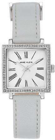 Anne Klein Anne Klein Silvertone Swarovski Crystal and Gray Leather Strap Watch