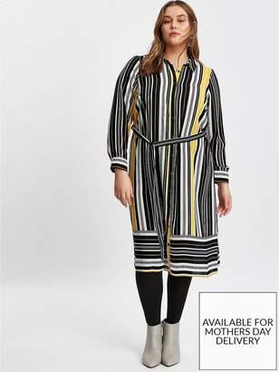 Evans Stripe Shirt Dress - Black And Yellow