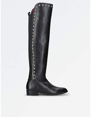 Kurt Geiger Ladies Black Elegant Volt Leather Stud Knee High Boots