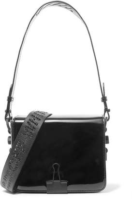 Off-White Embellished Patent-leather Shoulder Bag - Black