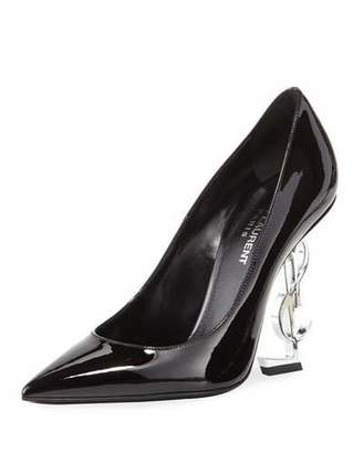 Saint Laurent Opyum Patent Pump with Monogram Heel, Black/Silver