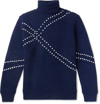 Raf Simons Embroidered Virgin Wool Rollneck Sweater