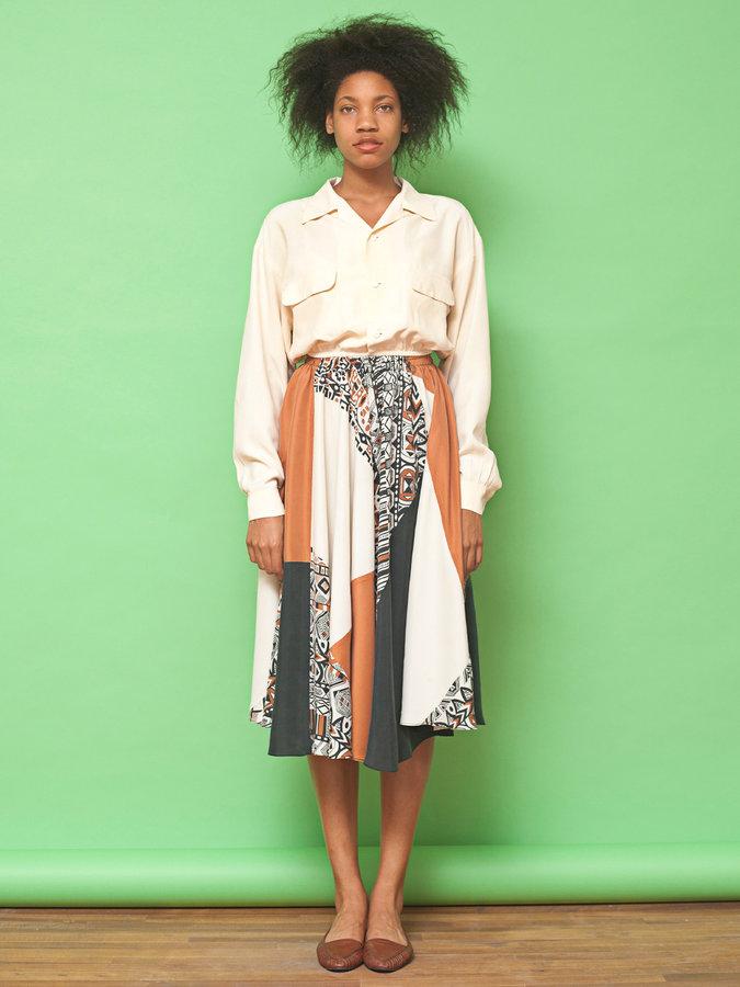 American Apparel California Select Original Silk Cropped Long Sleeve Blouse