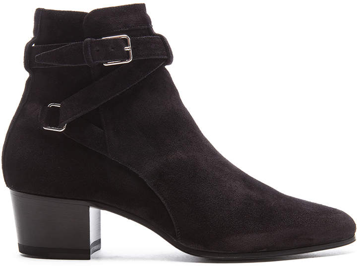 Saint Laurent Suede Blake Buckle Boots