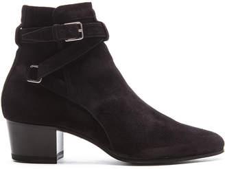 Saint Laurent Suede Blake Buckle Boots $945 thestylecure.com