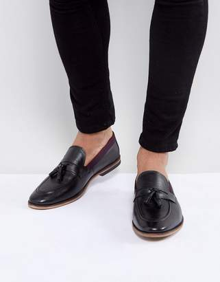Asos Design Tassel Loafers In Black Leather With Tape Detail