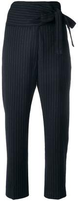 Forte Forte belted pinstripe tapered trousers