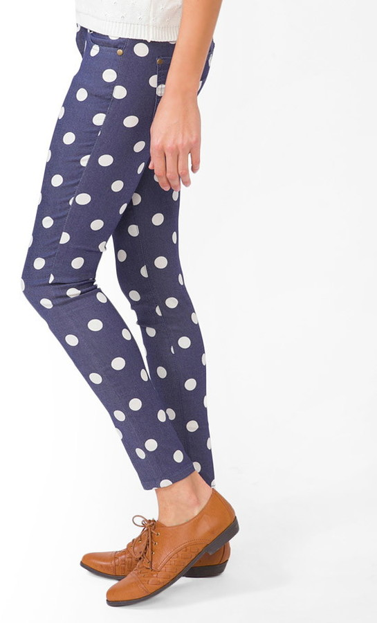 Forever 21 Polka Dot Skinny Jeans
