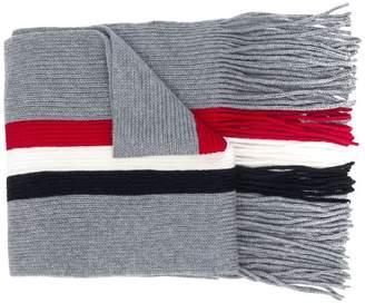 Moncler fringed tri-stripe scarf