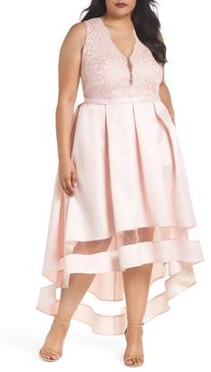Marina Lace & Pleated High/Low Gown