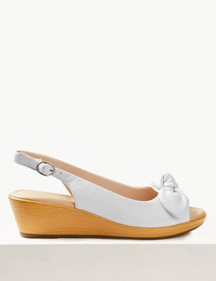 Marks and Spencer Wide Fit Leather Wedge Heel Bow Sandals