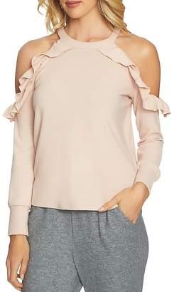 1 STATE 1.STATE Ruffled Cold-Shoulder Sweatshirt