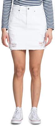 PRPS Distressed Denim Mini Skirt with Back Slit