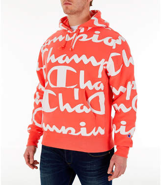 Champion Men's Reverse Weave Allover Print Large Script Hoodie