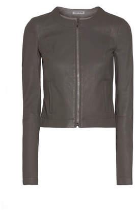 Elizabeth and James Helen Cropped Leather Jacket - Gray