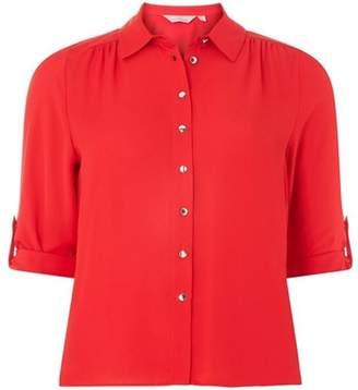 Dorothy Perkins Womens Petite Red Roll Sleeve Shirt