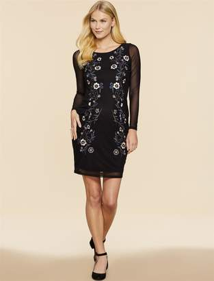 Jessica Simpson Motherhood Maternity Embroidered Mesh Maternity Dress