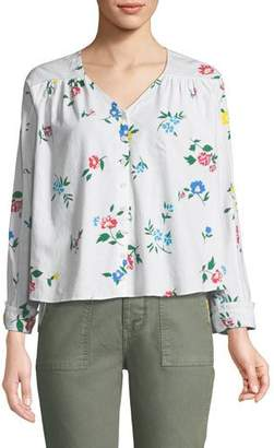 The Great The Boutonniere Floral-Embroidered Cotton Top