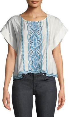 Ella Moss Embroidered Scalloped T-Shirt