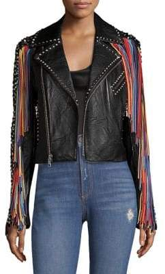 Alice + Olivia Cody Leather Moto Jacket