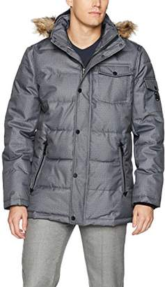 Nautica Men's Quilted Parka Jacket with Removable Faux Fur Hood