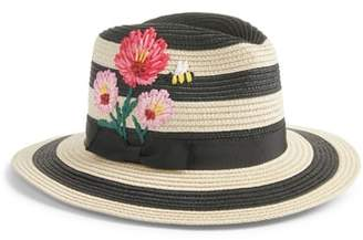 Kate Spade Blossom Embroidered Straw Trilby