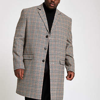 River Island Big and Tall brown check smart overcoat