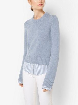 Michael Kors Gingham-Trimmed Cashmere Pullover