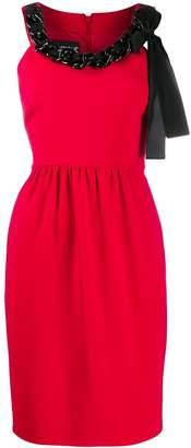 Moschino chain-embellished crepe dress