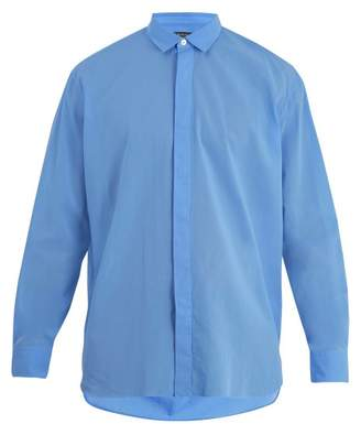 Berluti - Single Cuff Oversized Cotton Shirt - Mens - Light Blue