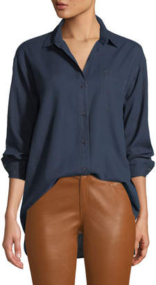 Lafayette 148 New York Everson Nocturnal Cotton Pocket Blouse