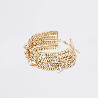 River Island Gold tone jewel stone chain bracelet