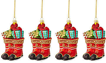Martha Stewart MarthaHoliday The Night Before Christmas Set of 4 Boots Christmas Ornaments