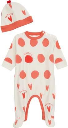 Burberry Hearts & Dots Footie & Hat Set