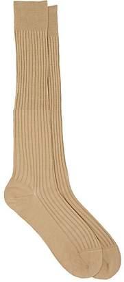 Barneys New York Men's Rib-Knit Cotton-Blend Knee Socks - Neutral