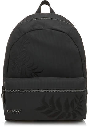 Jimmy Choo REED Black Woven Nylon Backpack with Feather Embroidery