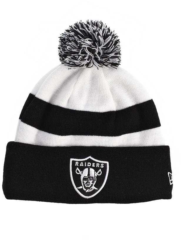New Era Raiders Bobble Beanie Hat