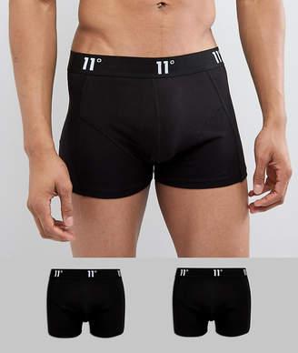 Trunks 11 Degrees 2 Pack Boxer In Black