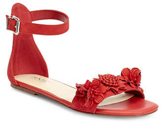 Isaac Mizrahi IMNYC Maddy Flat Leather Ankle Sandals