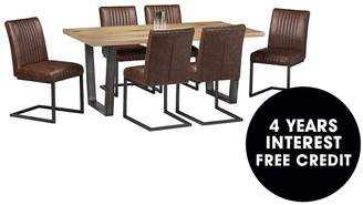 Camilla And Marc Julian Bowen Brooklyn 180 Cm Solid Oak And Metal Dining Table + 6 Chairs
