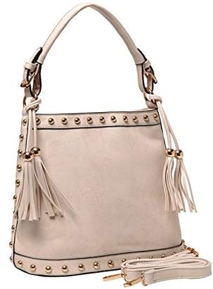MG Collection Susie Tassel Studded Tote