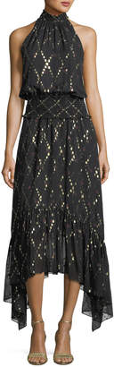 A.L.C. Easton Sleeveless Halter-Neck Long Chiffon Dress w/ Metallic
