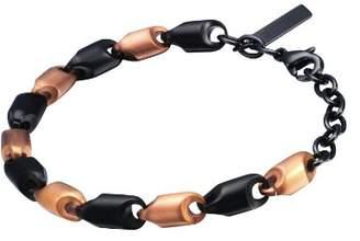 Police Spirit Unisex Black and Rose Gold Plated Stainless Steel Bracelet