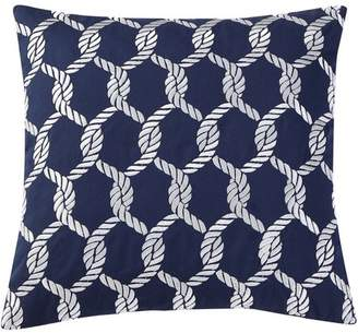 "VCNY Home Navy/White Montauk Nautical Rope Embroidered 18"" x 18"" Cotton Decorative Throw Pillow"