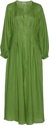 Three Graces London Valeraine Pleated Ramie Midi Dress Size: 8