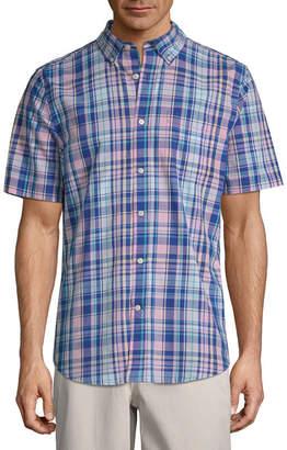 ST. JOHN'S BAY Mens Short Sleeve Plaid Button-Front Shirt